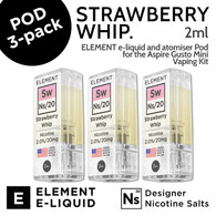 3 pack - Strawberry Whip - Element Pod for Aspire Gusto Mini - 2ml and 20mg