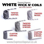 WHITE WICK N' COILS - Prewrapped Twisted and Clapton Kanthal and Nickel Coils.