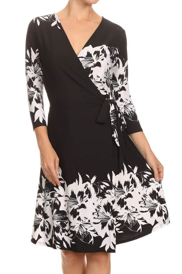Black & White Print Wrap Dress