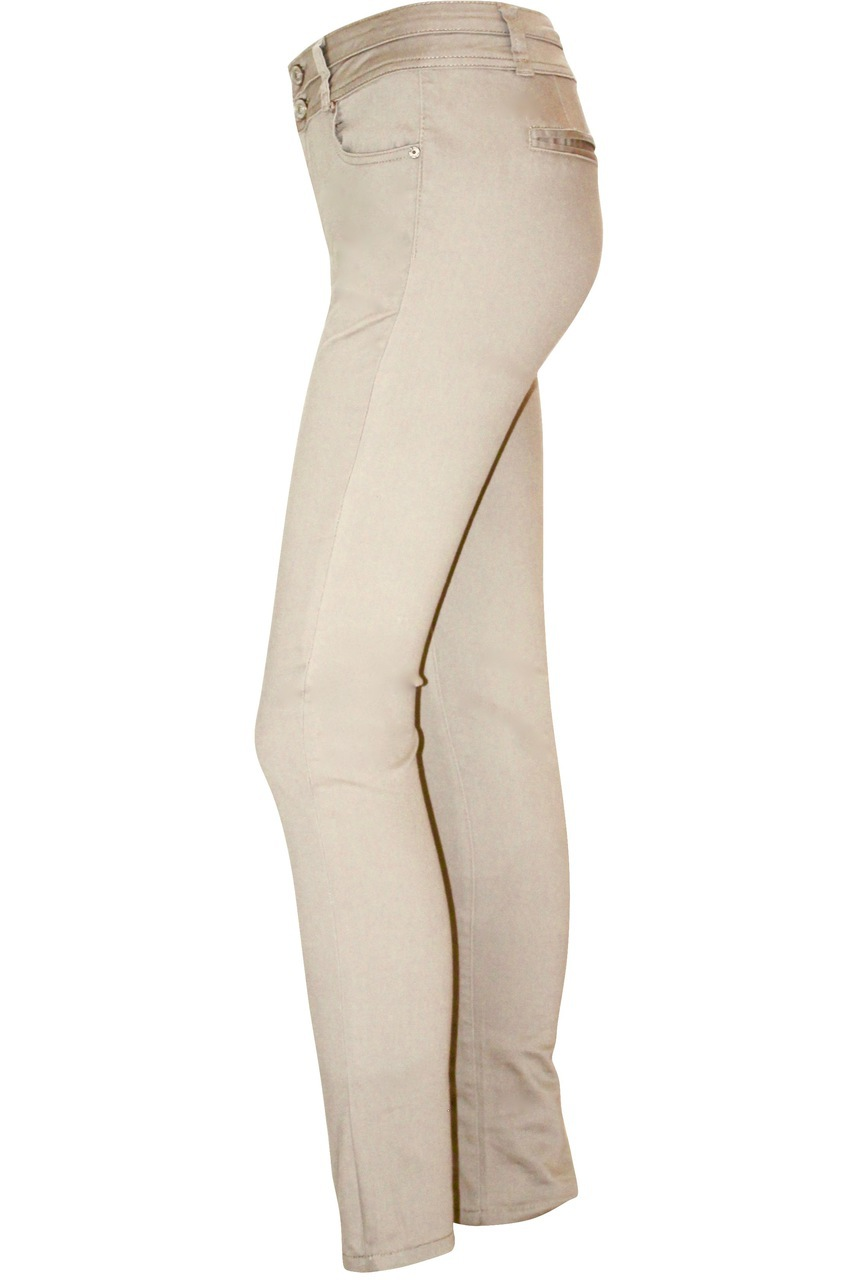 Beige Straight Leg Stretch Pants