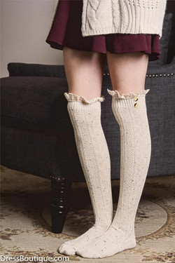 Beige Over the Knee Lace Boot Socks