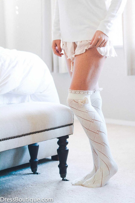 Ivory Over the Knee Boot Socks with Bow