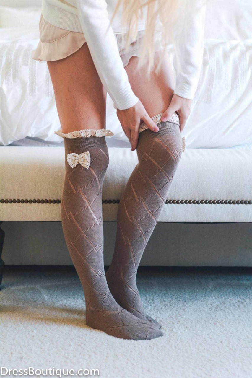 169990620 Mocha Over The Knee Boot Socks with Bow - Dress Boutique