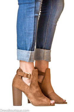 Tan Faux Suede Peep Toe Ankle Boot