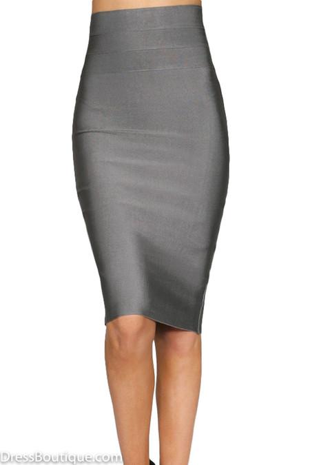 Metallic Grey Bodycon Pencil Skirt