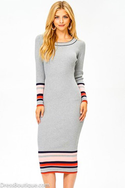 Grey Fitted Long Sleeve Sweater Dress