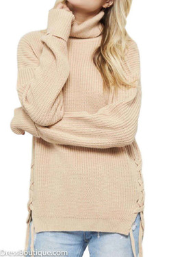Beige Turtle Neck Sweater with Side Ties