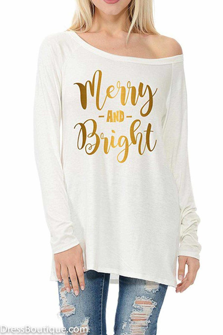 Merry & Bright Cream Long Sleeve Graphic T-Shirt