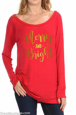 Merry & Bright Red Long Sleeve Graphic T-Shirt