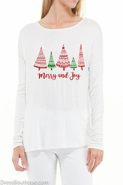 White Merry & Joy Long Sleeve Graphic T-Shirt