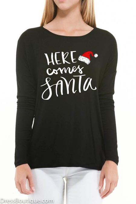 Here Comes Santa, Black Long Sleeve Graphic T-Shirt