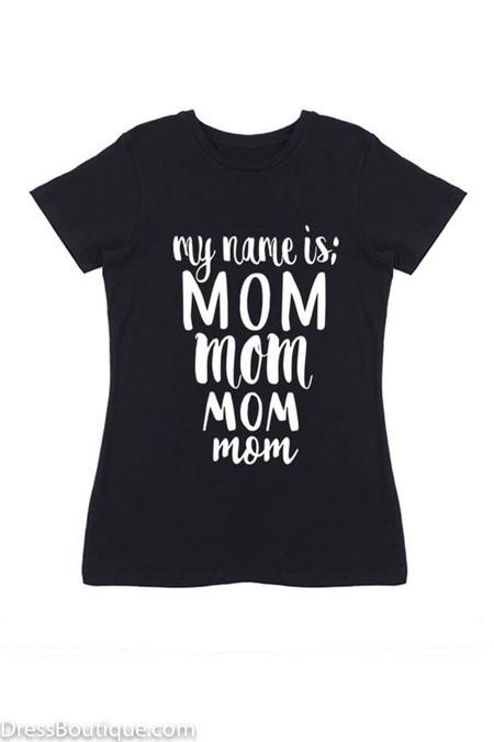 Mom Black Graphic T-Shirt