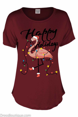 Happy Holidays Burgundy Flamingo T-Shirt