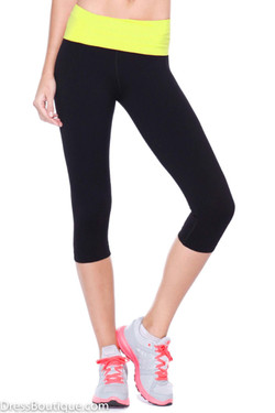 Yellow Trim Flex Fit Yoga Pants