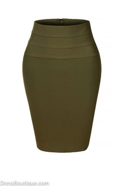 Olive Midi Bodycon Pencil Skirt
