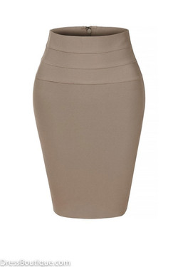 Taupe Midi Bodycon Pencil Skirt