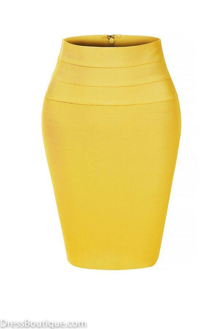Yellow Midi Bodycon Pencil Skirt