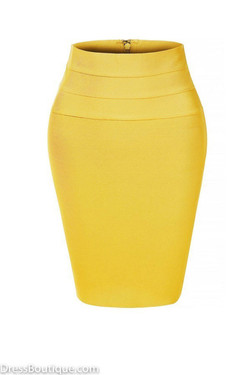 Yellow Midi Bodycon Pencil Skirt