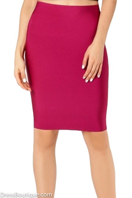 Luxe Maroon Bodycon Bandage Skirt