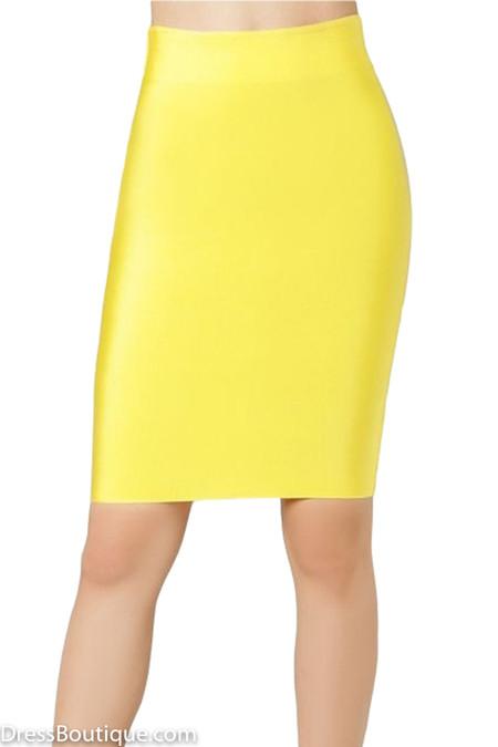 Luxe Yellow Bodycon Bandage Skirt