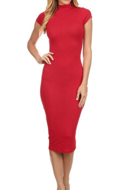 Short Sleeve Midi Fitted Dress