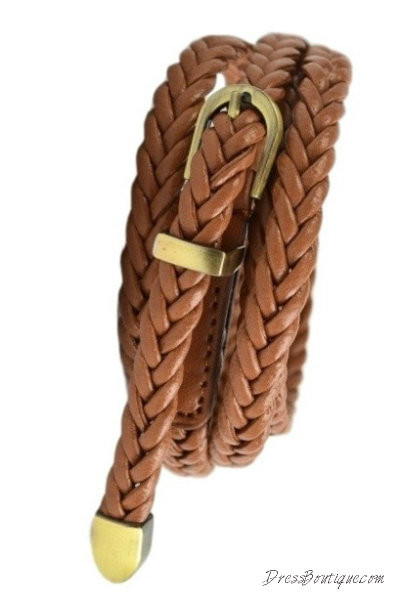 Slim Braided Tan Belt