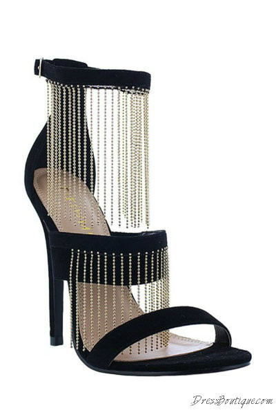 "Black Velvet 4.25"" Chain Detail Heels"
