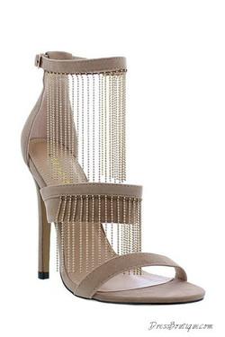 """Nude Velvet 4.25"""" Chain Detail Heels"""