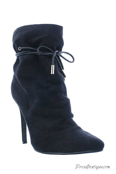 Black Suede Stiletto Ankle Boot