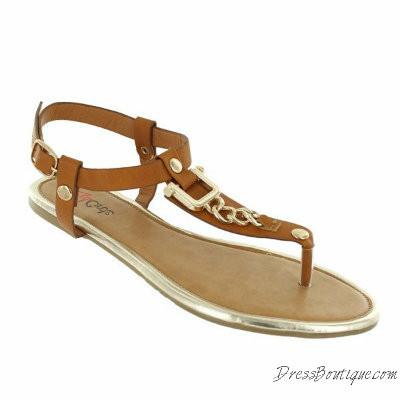 Gold Link Tan Sandals