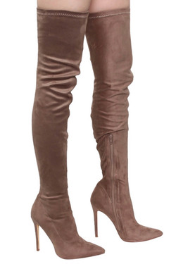 Beige Over The Knee Stiletto Boots