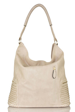 Beige Studded Shoulder Bag