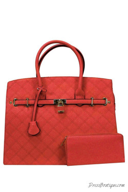 Stitched Oversized Red Tote