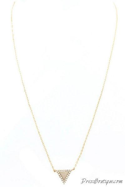 Handmade Pave Triangle Necklace