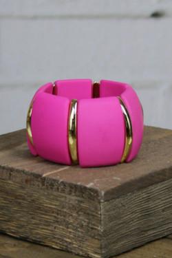 Hot Pink Acrylic Link Bracelet