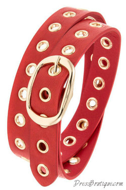 Fire Red Cut Out Belt