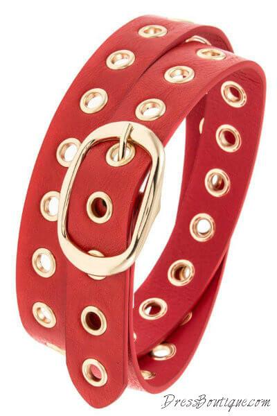 Fire Red Cut Out Belt