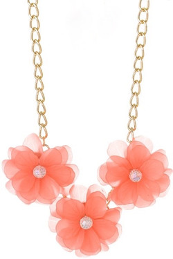 Peach Floral Statement Necklace