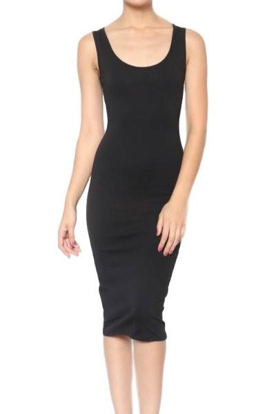 Black Midi Fitted Dress