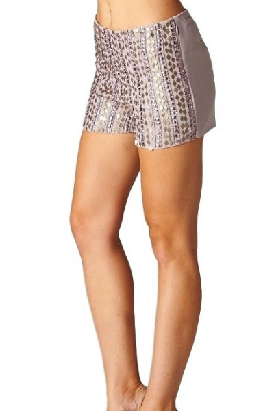 Beige Embellished Shorts