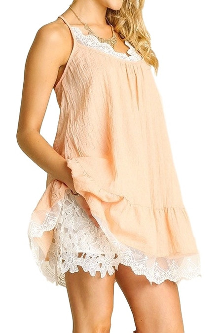 Blush Lace Trimmed Tunic