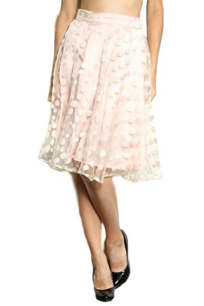 Sheer Polka Dot Midi Skirt