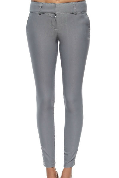 Grey Slim Fit Stretch Pants