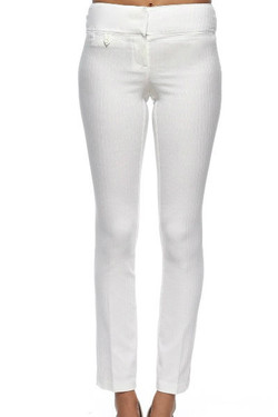 White Twill Stretch Pants