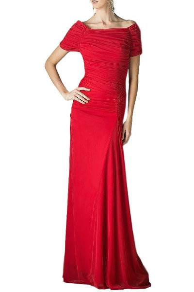 Fluted Red Evening Dress