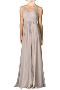 Beige Chiffon Evening Dress