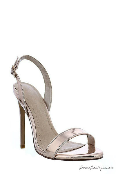 Rose Gold Open Toe Slingback Heels
