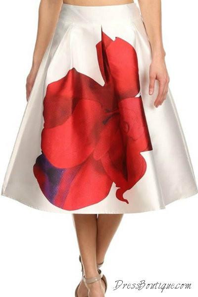 Floral Retro Midi Skirt
