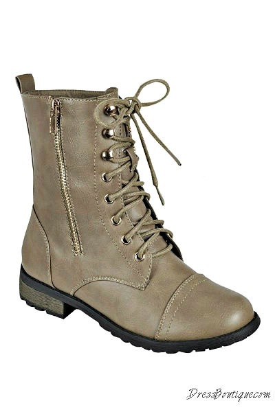 Taupe Boho Combat Boots  a68895975