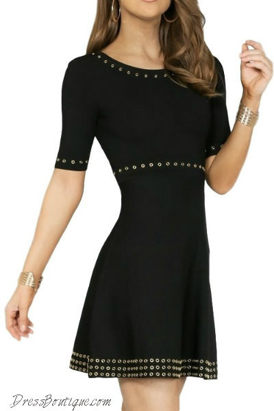 Accented Black Skater Dress